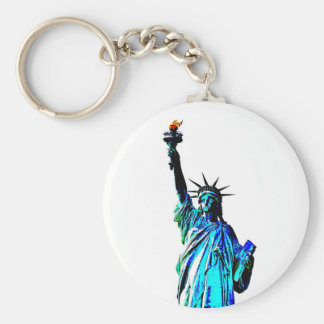 Blue Statue of Lady Liberty Keychain