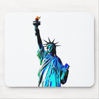 Blue Statue of Lady Liberty Mouse Pad