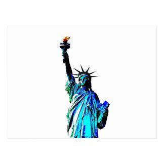 Blue Statue of Lady Liberty Postcard