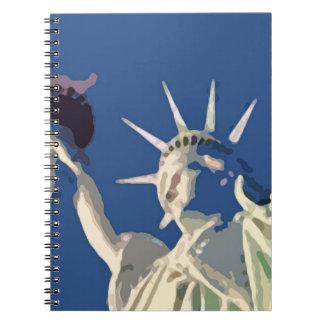 Blue Statue of Liberty Pop Art Notebook