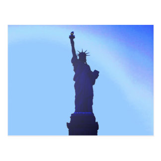 Blue Statue of Liberty Silhouette Post Cards