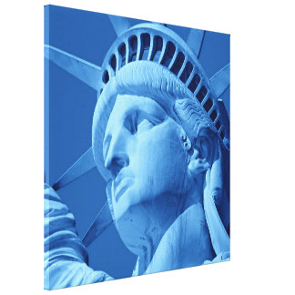 Blue Statue of Liberty Wrapped Canvas Canvas Print