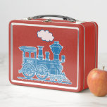 """Blue steam loco train kids custom name lunch box<br><div class=""""desc"""">Fun blue steam locomotive train metal lunch box perfect for a young train enthusiast,  model train builder or a trainspotter. Customize with your own name on the train. Currently reads Pedro. Illustration and design by Sarah Trett for www.mylittleeden.com on zazzle.</div>"""