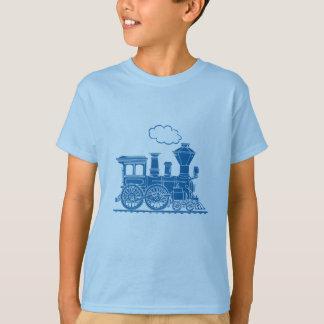 Blue steam locomotive train light t-shirt