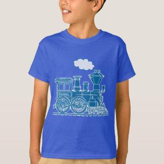 "Blue steam locomotive train ""your name"" t-shirt"
