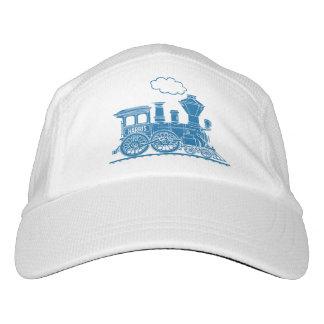 Blue steam train personalized hat