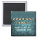 Blue Steampunk Keys Save the Date Magnet