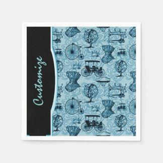 Blue Steampunk Pattern Napkins