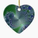 Blue Steel Christmas Fractal Ceramic Ornament