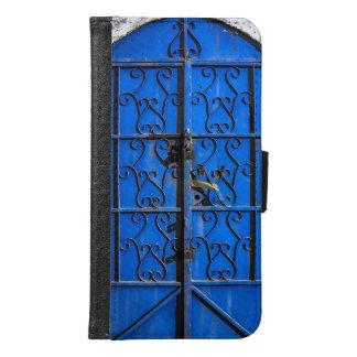 Blue Steel Door Rustic vintage Jeddah Wallet Phone Case For Samsung Galaxy S6