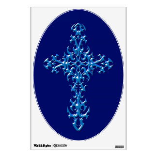 Blue Steel Gothic Cross Wall Sticker