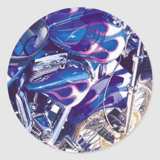 """""""Blue Steel"""" Motorcycle Watercolor Classic Round Sticker"""