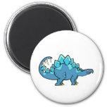 Blue Stegasaurus 2 Inch Round Magnet