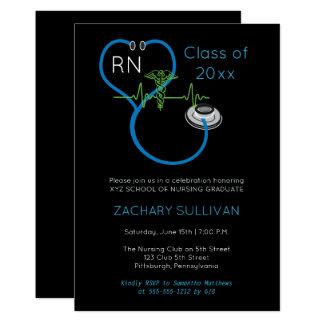 Blue Stethoscope EKG Nursing Graduation Party Card