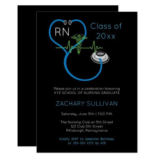 blue stethoscope ekg nursing graduation party invitation