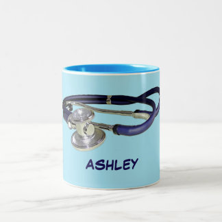 Blue Stethoscope with Custom Name Two-Tone Mug