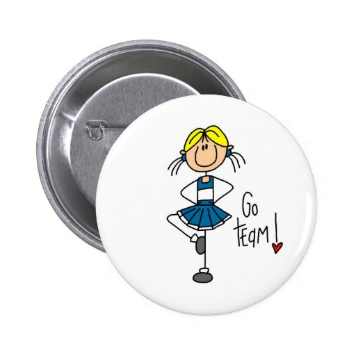 Blue Stick Figure Cheerleader T-shirts and Gifts Pinback Buttons
