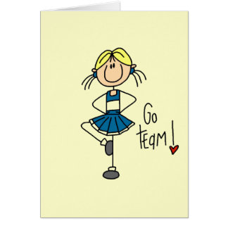 Blue Stick Figure Cheerleader T-shirts and Gifts Card