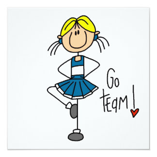 """Blue Stick Figure Cheerleader T-shirts and Gifts 5.25"""" Square Invitation Card"""