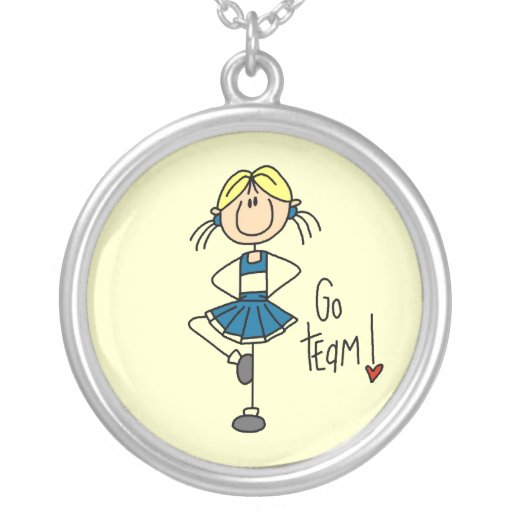 Blue Stick Figure Cheerleader T-shirts and Gifts Necklaces