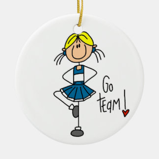 Blue Stick Figure Cheerleader T-shirts and Gifts Christmas Tree Ornament