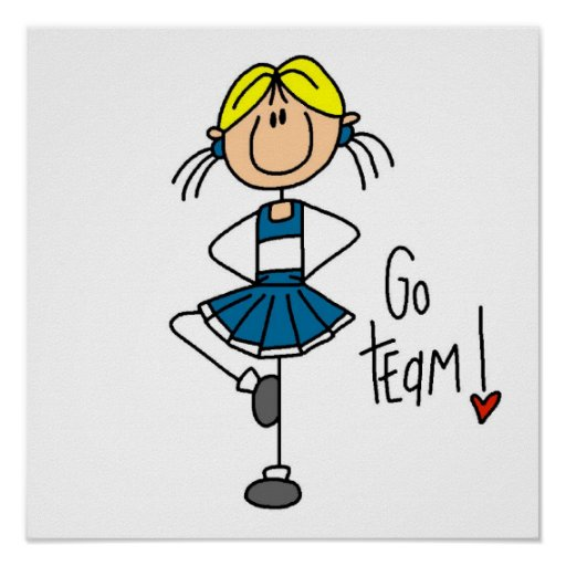 Blue Stick Figure Cheerleader T-shirts and Gifts Posters