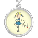 Blue Stick Figure Cheerleader T-shirts and Gifts Round Pendant Necklace