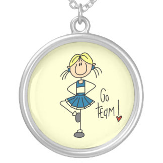 Blue Stick Figure Cheerleader T-shirts and Gifts Silver Plated Necklace