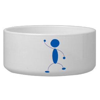 Blue Stick Figure Dancing Dog Water Bowls