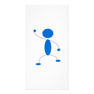 Blue Stick Figure Dancing Photo Cards