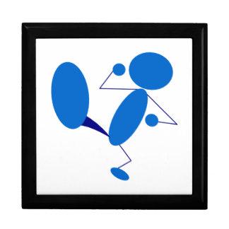 Blue Stick Figure Kicking Trinket Box