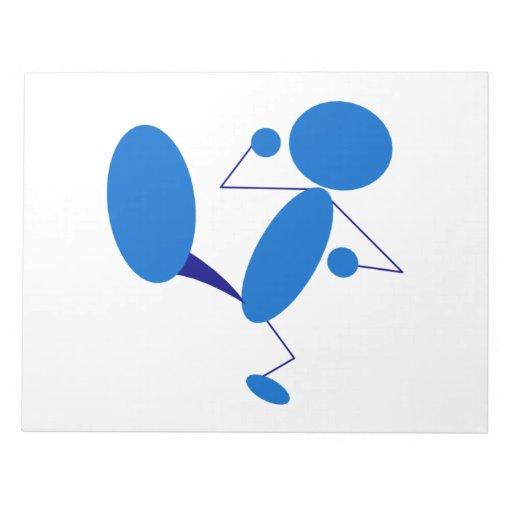 Blue Stick Figure Kicking Memo Notepads