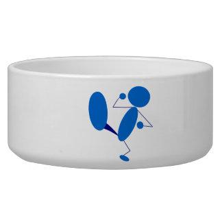Blue Stick Figure Kicking Dog Water Bowls