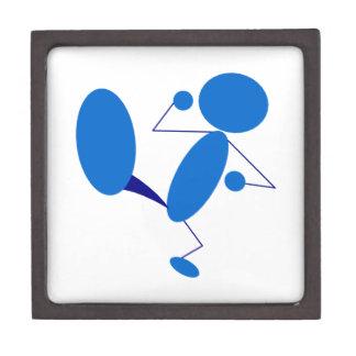 Blue Stick Figure Kicking Premium Jewelry Boxes