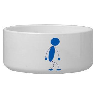 Blue Stick Figure Mad Dog Food Bowls