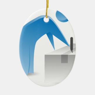Blue Stick Figure Man Cutting Open Box Ceramic Ornament