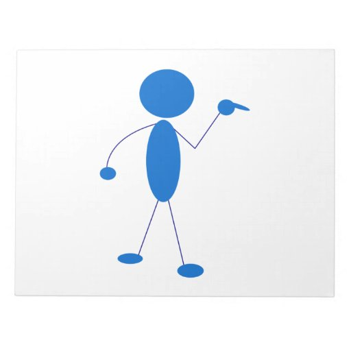 Blue Stick Figure Pointing Memo Notepads