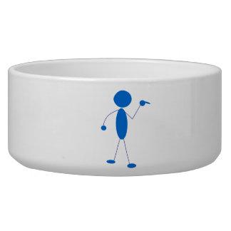Blue Stick Figure Pointing Dog Bowls