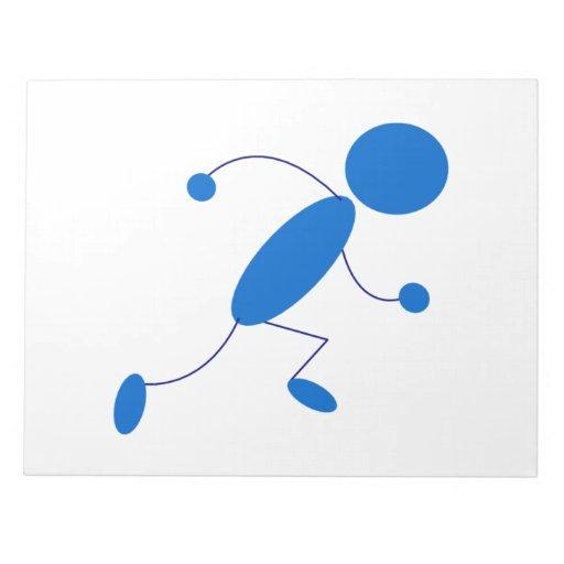 Blue Stick Figure Running Notepad