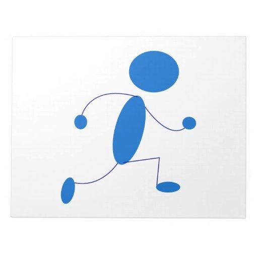 Blue Stick Figure Running Memo Note Pad