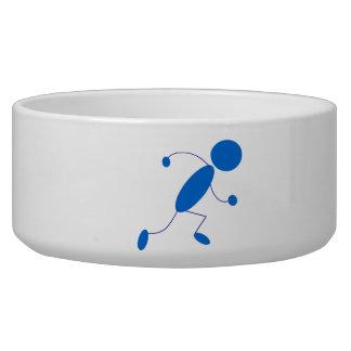 Blue Stick Figure Running Pet Bowl