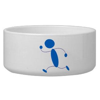 Blue Stick Figure Running Dog Bowls