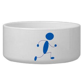 Blue Stick Figure Running Dog Water Bowls