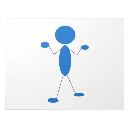 Blue Stick Figure Shrugging Shoulders Memo Note Pad