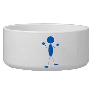 Blue Stick Figure Shrugging Shoulders Dog Food Bowl