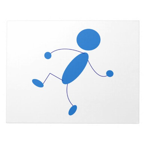 Blue Stick Figure Throwing Notepad