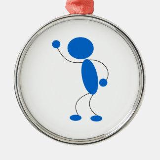 Blue Stick Figure Yelling Round Metal Christmas Ornament