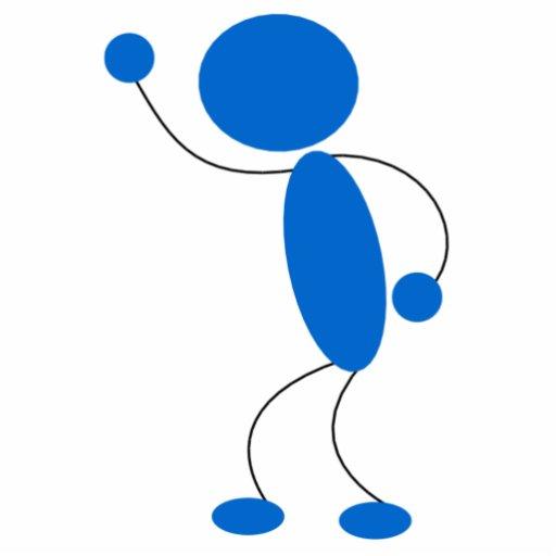 Blue Stick Figure Yelling Standing Photo Sculpture Zazzle