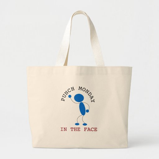 Blue Stick Man: Punch Monday In The Face Tote Bag