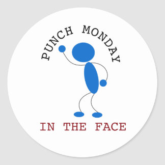 Blue Stick Man: Punch Monday In The Face Classic Round Sticker